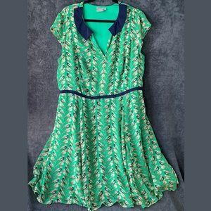 eShakti Collared Flare Dress Bird Print